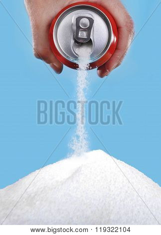 Hand Holding Soda Can Pouring A Crazy Amount Of Sugar In Metaphor Of Sugar Content