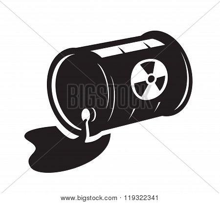 black radioactive waste icon