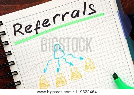 Referrals concept  written in a notebook.