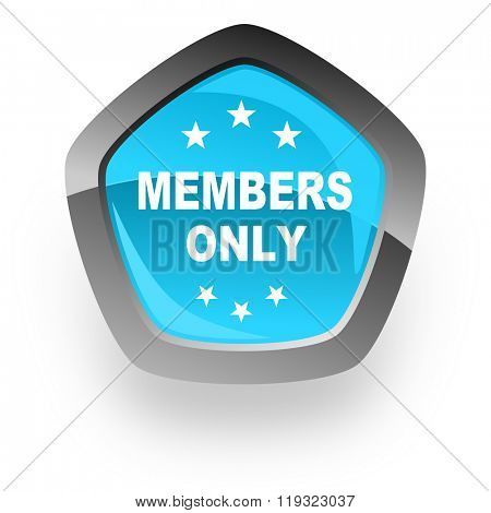 members only blue metallic chrome web pentagon glossy icon
