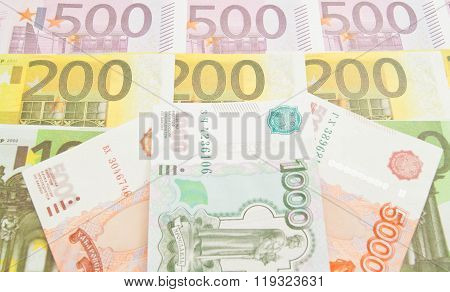 Different Russian Banknotes And Euro Banknotes