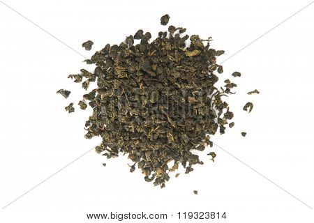 Milk Oolong green leaf tea, high angle view isolated on white background