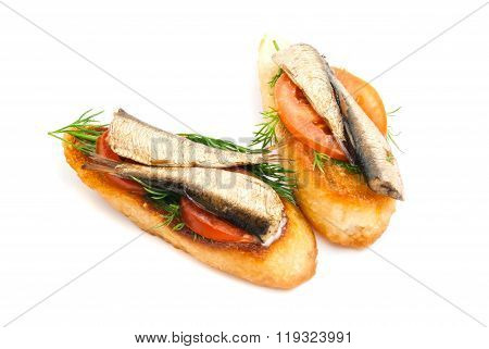 Sandwiches With Sprats On White