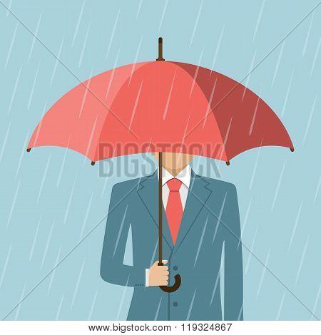 Businessman Holding An Umbrella. Man Standing In Rain.
