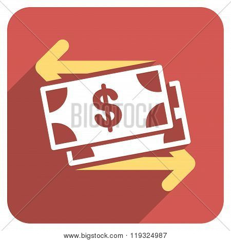 Spend Banknotes Flat Rounded Square Icon with Long Shadow