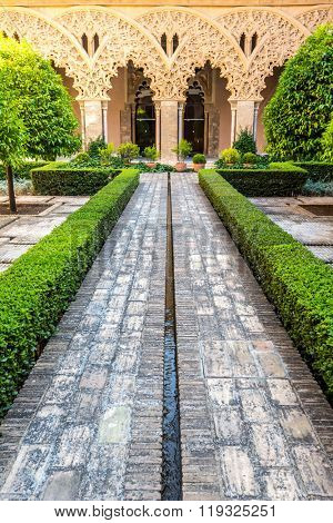 ZARAGOZA, SPAIN - JUNE 8, 2014: moorish garden of aljaferia alcazar of Zaragoza Spain, built during the 11th century, on April 21, 2011 in Zaragoza, Spain.