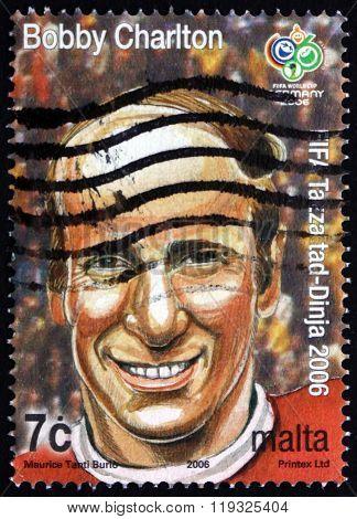 Postage Stamp Malta 2006 Bobby Charlton, Soccer Player