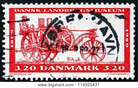 Postage Stamp Denmark 1989 Tractor, 1889