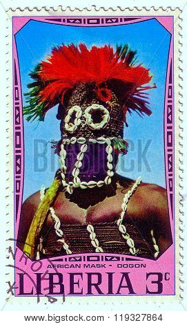 Liberia - Circa 1977: A Stamp Printed In Liberia Shows African National Ritual Mask (dogon), Circa 1