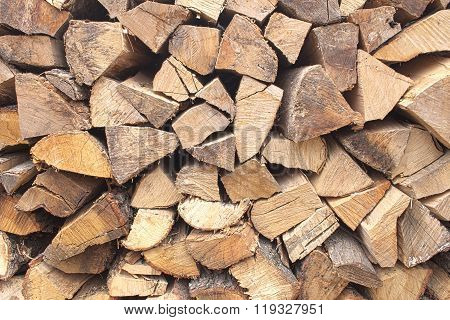 Background of chopped firewood stacked up