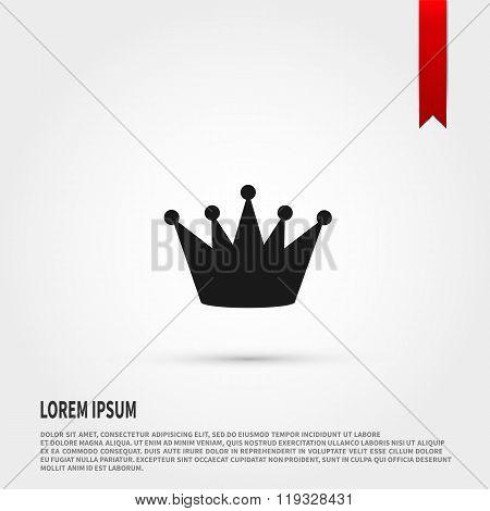 Black crown icon. Flat design style. Tem
