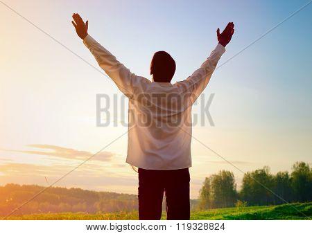 Man Praying Outdoor