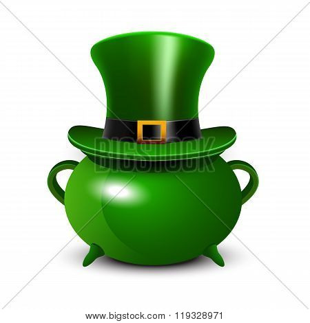 St.Patricks Day background with green cauldron and hat.
