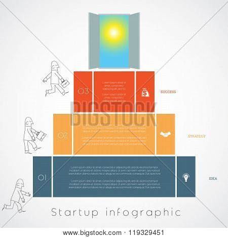 Infographics Businessman Steps Up Ladders Template Three Positions
