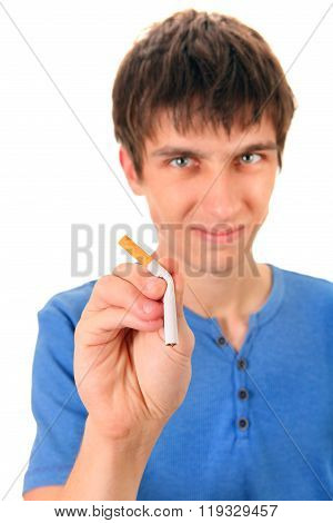 Young Man Destroy A Cigarette