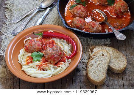Meatballs In Tomato And A Spaghetti