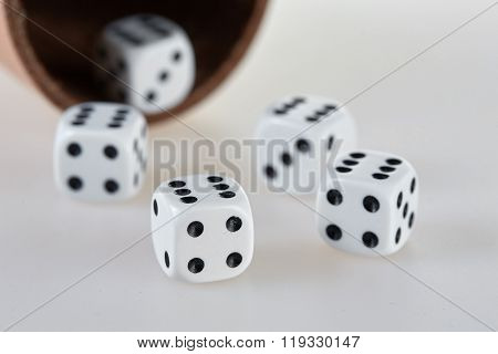 Five Dices And A Dice Cup