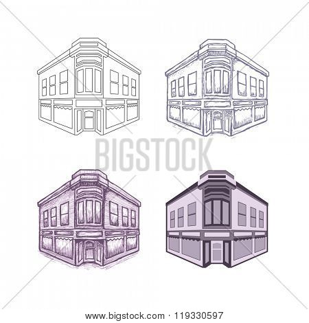 building illustration, 4 different drawing styles