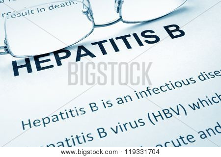 Paper with words  hepatitis b.