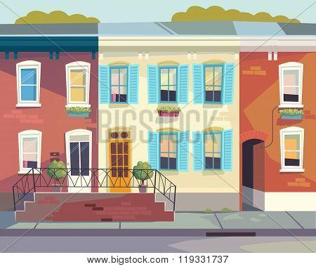Front doors to the house.  Sunny city street . Cartoon style
