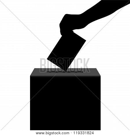 Hand Casts Ballot In The Ballot Box In Elections Silhouette