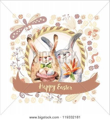 Two Cute Rabbits Hold Gifts- Eggs And Bouquet of Carrot. Watercolor collage. Happy Easter Card