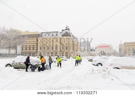 Bucharest, Romania - January 17: Revolution Square On January 17, 2016 In Bucharest, Romania. Buchar