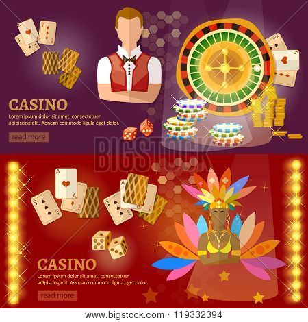 Casino And Gambling House Banners Poker Baccarat Game Industry