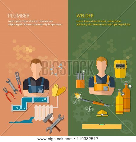 Industrial Professions Banners Plumber And Welder Plumbing Tools And Welding Tools