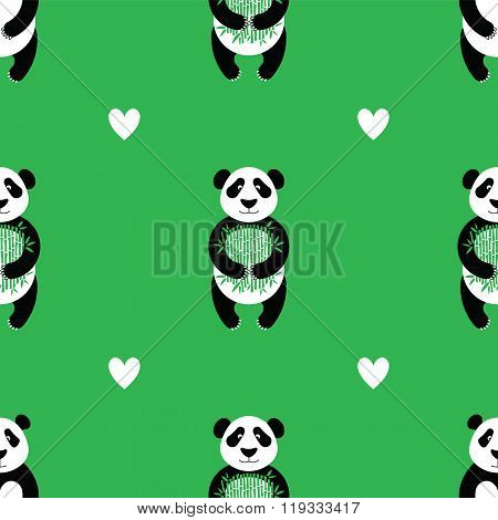 Panda pattern in flat style. Seamless pattern made in vector easy recolor. Cute panda background design for fabric and decor.