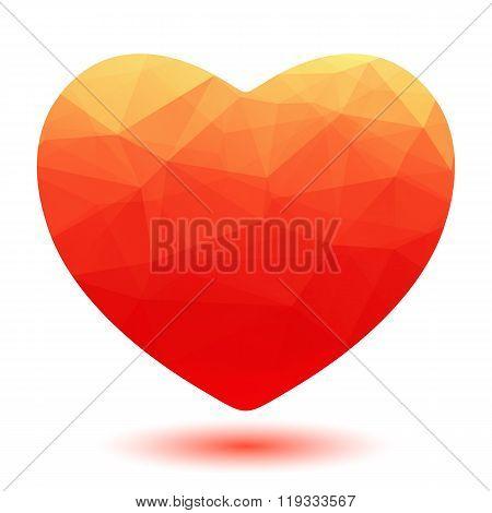 polygonal scarlet heart