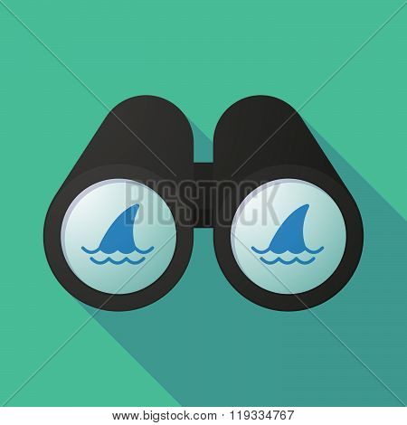 Illustration Of A Binoculars Viewing A Shark Fin