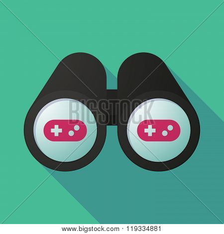 Illustration Of A Binoculars Viewing A Game Pad