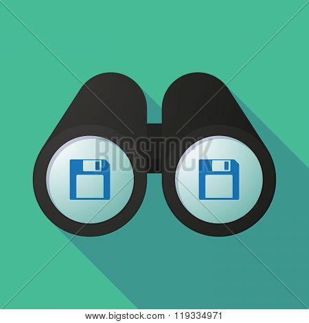 Illustration Of A Binoculars Viewing A Floppy Disk