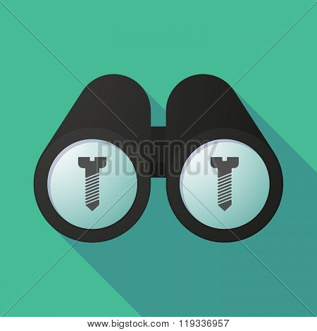 Illustration Of A Binoculars Viewing A Screw