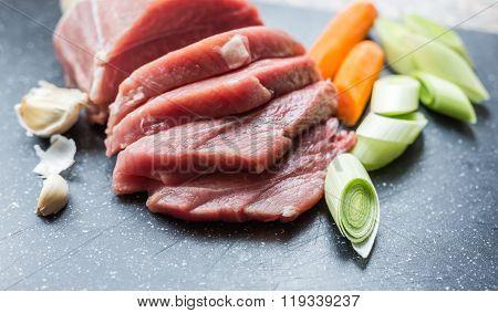 Closeup Of Raw Pork Meat