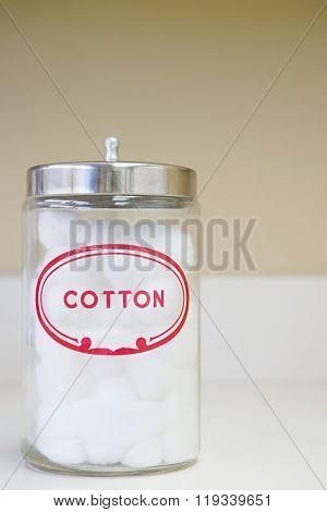 Jar of cotton wool