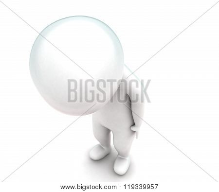3D Man Standing And Looking Downwards Concept