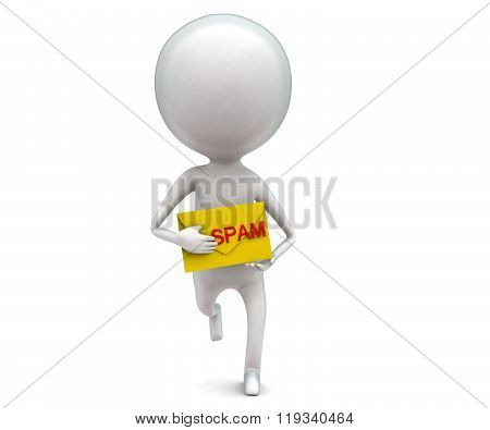 3D Man Holding Spam Message In Hands Concept