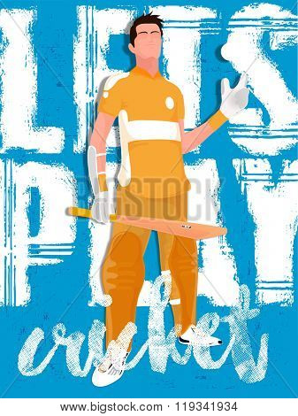 Illustration of a Player holding bat and ball on stylish background for Cricket Sports concept.