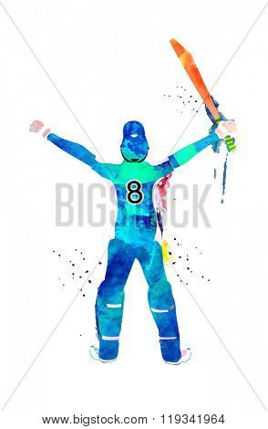 Creative illustration of a Player made by color splash in winning pose for Cricket Sports concept.