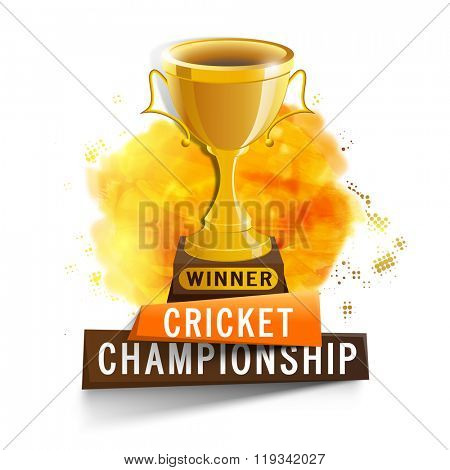 Glossy Golden Winner Trophy on shiny paint stroke background for Cricket Championship concept.