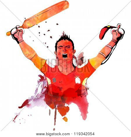 Creative illustration of a player holding bat, made by color splash for Cricket Sports concept.