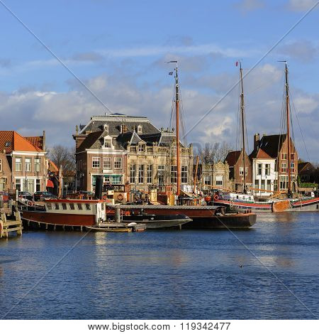 Beautiful View Of The Old Port Of Enkhuizen, The Netherlands