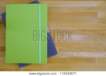 copybook on wooden table