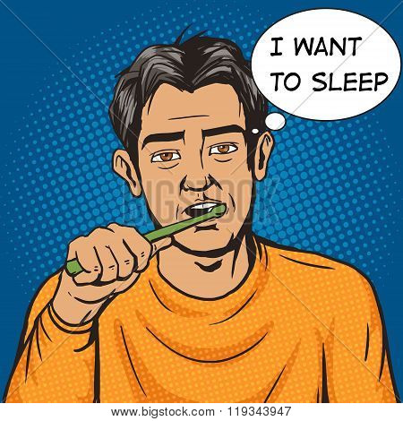 Man brushing his teeth morning pop art vector