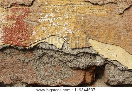 Close Up Of Crumbling  Wall With Layers Of Peeled Paint 2