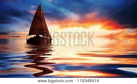 Sailing at fantastic sunset