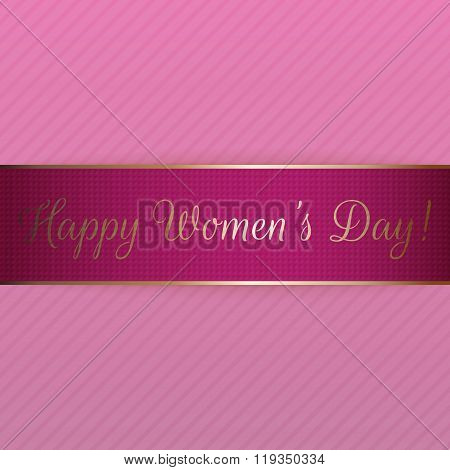 Happy Womens Day pink realistic festive Ribbon