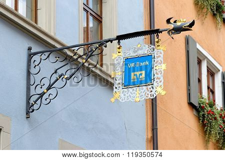 Wrought Iron Hanging Sign In Rothenburg Ob Der Tauber, Germany.